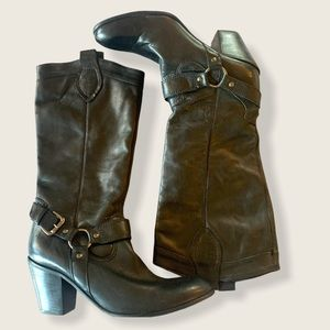 Via Uno Brazil Leather High Moto Style Boot Size 8